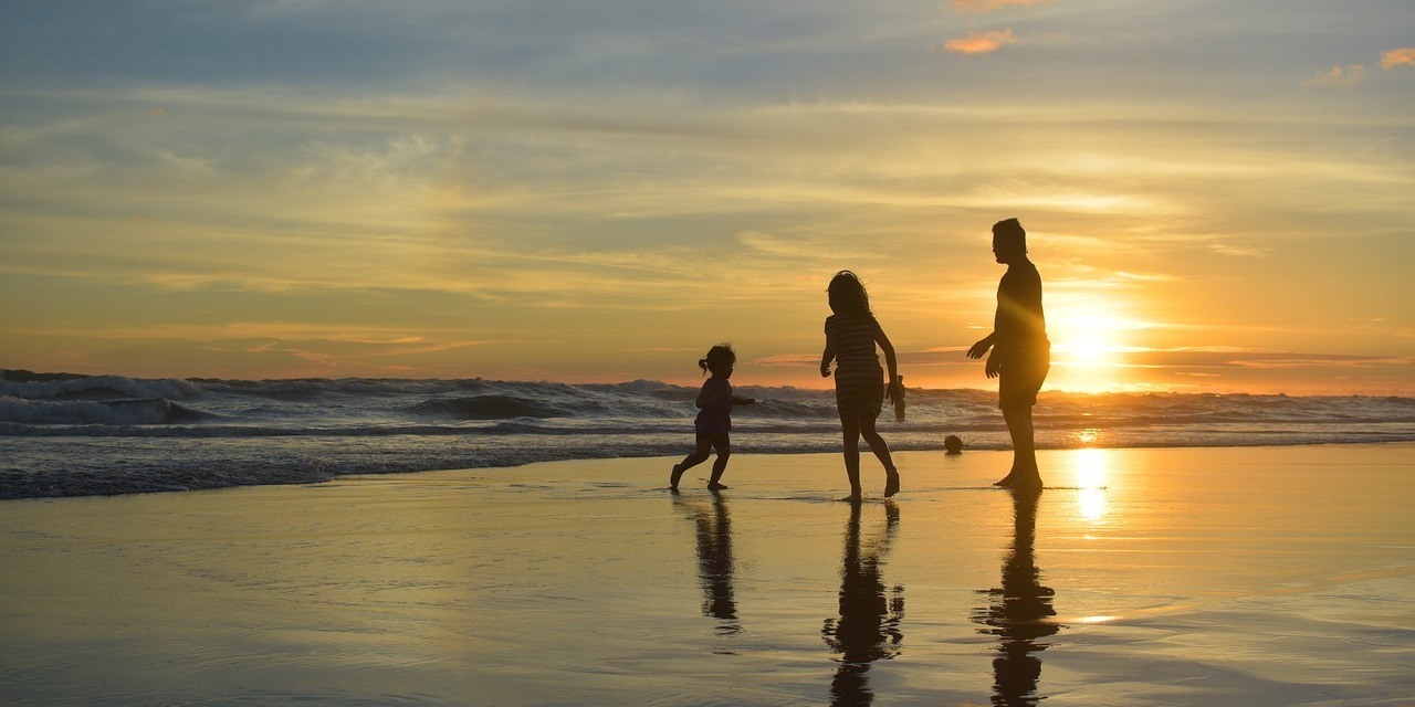 Family Silhouette Happiness Sunset Dusk Beach